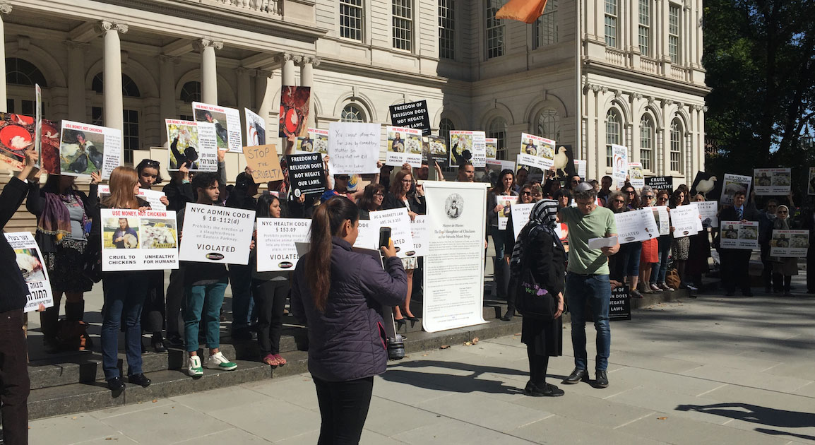Kaporos demonstration on the steps of City Hall, New York city.